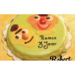 Bert en Ernie marsepein taart